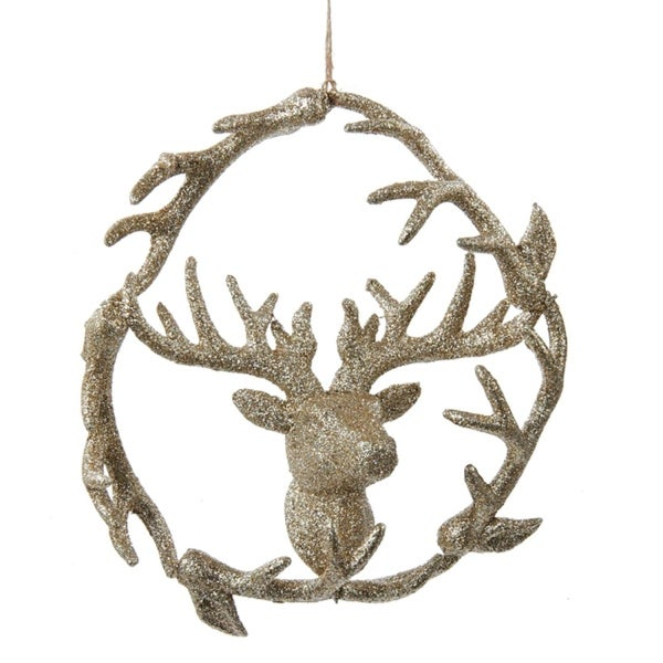 "7"" Luxury Lodge Champagne Glitter Wreath with Deer Head Inside Christmas Ornament - GOLD"