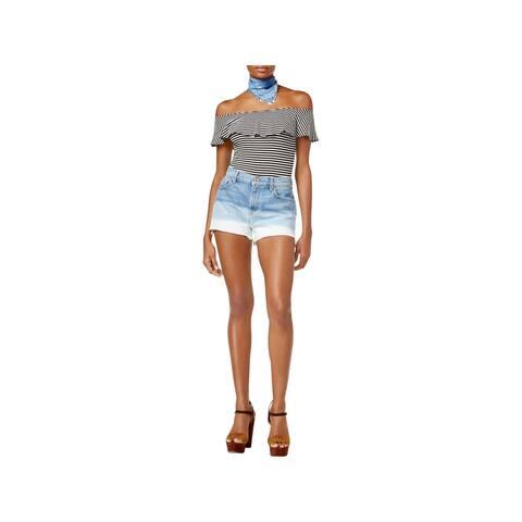 7 For All Mankind Womens Denim Shorts High Waist Vintage