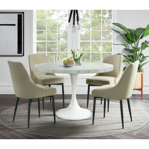 Picket House Furnishings Mardelle 5PC Dining Set-Table & Four Cream Side Chairs