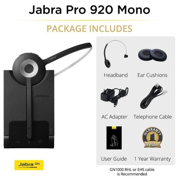 Shop Jabra Pro 920 Mono Wireless Headset 920 65 508 105 W Dect 6 0 Technology Overstock 17695707