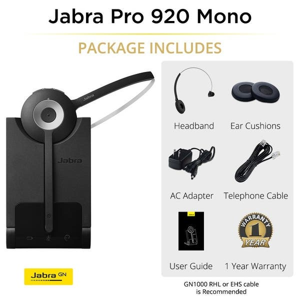 Shop Jabra Pro 920 Mono Manual Wireless Headset System W Noise Canceling Microphone 2 Pack Free Shipping Today Overstock 15387404