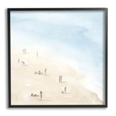 Stupell Industries People Lounging at Beach Soft Blue Coastal Landscape Framed Wall Art