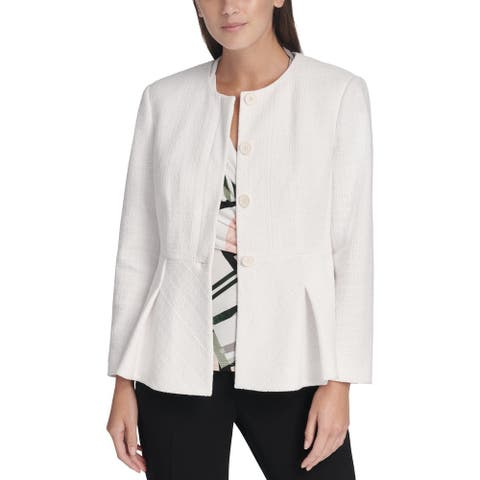 DKNY Womens Petites Four-Button Blazer Peplum Suit Separate - White