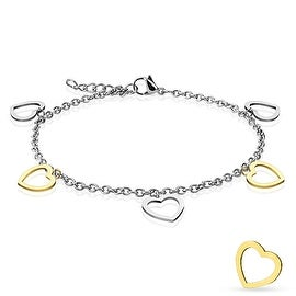 Gold and Steel Heart Dangling Charms 316L Stainless Steel Anklet/Bracelet (13.5 mm) - 9.25 in