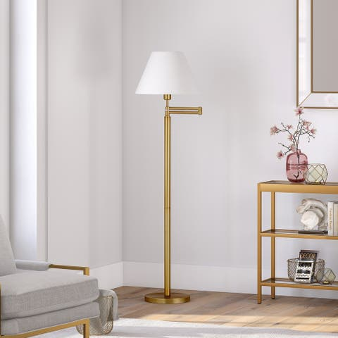 Moby Swing Arm Brass Finish Floor Lamp with Empire Shade