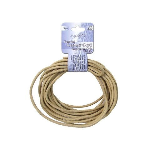 Dazzle It Leather Cord 3mm Rnd 5yd Natural
