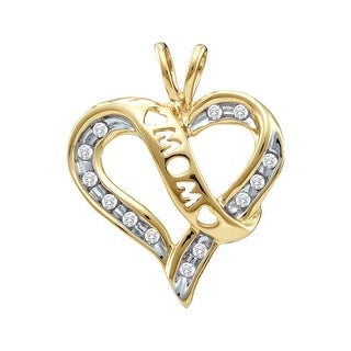 """Mom"" Heart Pendant 10K Yellow-gold With Diamonds 0.125Ctw By MidwestJewellery - N/A"