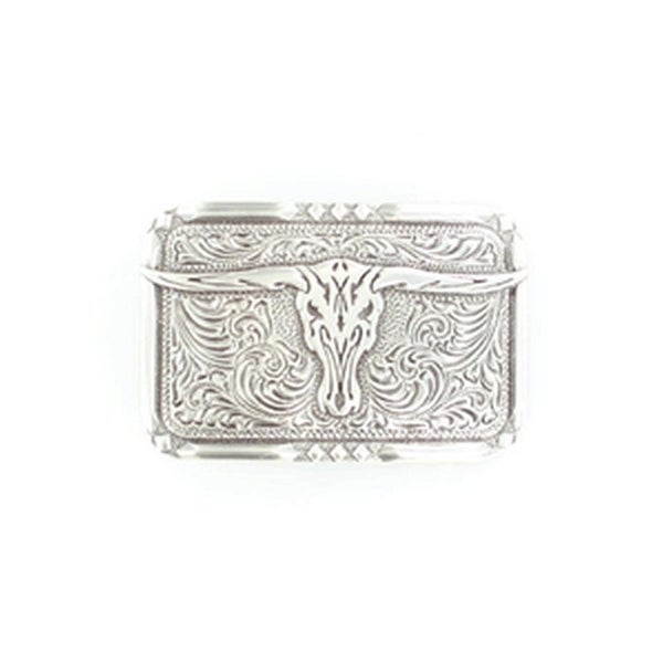 Crumrine Western Belt Buckle Rectangle Longhorn Skull Silver - 2 1/4 x 3 1/4