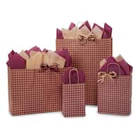 Pack Of 125, Assortment Burgundy Gingham Kraft Paper Shopping Bags 25 Rose, 50 Cub, 25 Vogue & 25 Queen