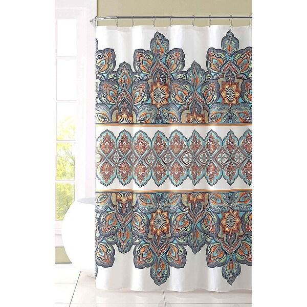 Aqua Blue Orange Fabric Shower Curtain Colorful Floral Eclectic Design