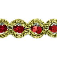 "River Sequin And Cord Trim 5/8""X20yd-Red"