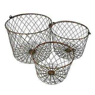 Wire Round Storage Nesting Baskets With Handles Set of 3 Rustic Finish