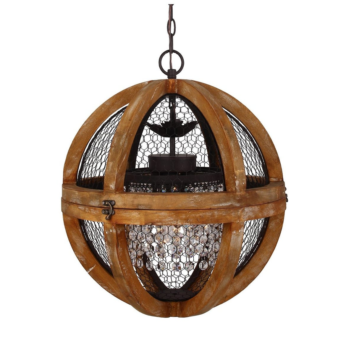 Farmhouse Antique Brown 3 Light Wood Crystal 18 Inch Orb Chandelier