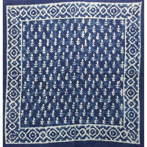 Gorgeous Unique Handmade Dabu Block Print Cotton Scarf Bandana Square Indigo Blue
