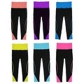 Women 6 Pack Fold Over Contast Color Athletic Sports Carpis Leggings - Thumbnail 0