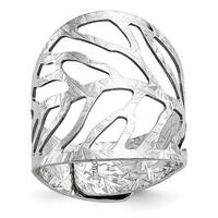 Italian Sterling Silver Rhodium-plated Adjustable Ring