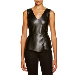Bailey 44 Womens Gehry Top Peplum Top Faux Leather V Neckline
