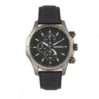 Breed Lacroix Men's Quartz Chronograph Watch, Genuine Leather Band, Luminous Hands
