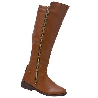 Weeboo Adult Brown Side Zipper Closure Tall Hi-Low Trendy Boots