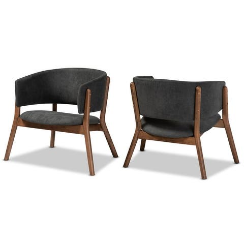 Baron Mid-Century Modern 2-Piece Living Room Accent Chair Set