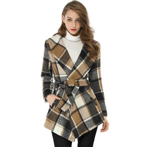 Women's Turn Down Collar Asymmetric Hem Thin Belted Plaids Wrap Coat - Brown