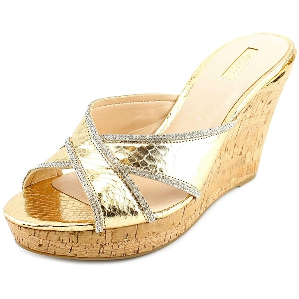 Guess Eleonora Women Open Toe Synthetic Gold Wedge Sandal