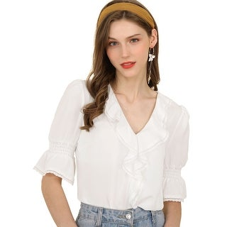 Link to Women's Ruffle V Neck Half Bell Sleeve Blouse Summer Vintage Casual Chiffon Peasant Top Similar Items in Tops
