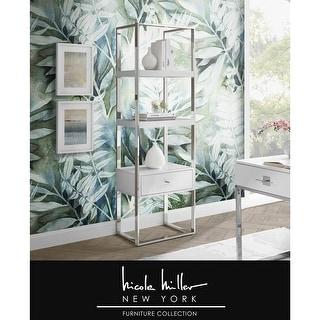 Ohana Bookcase/Bookshelf High Gloss Stainless Steel 1 Drawer