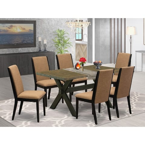 X676LA147-5 5-Piece kitchen table set a Distressed Jacobean Kitchen Table and 4 Stunning Linen Fabric Dining Chairs