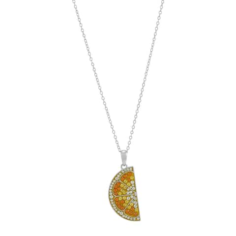Lemon Slice Pendant with Crystals in Sterling Silver, 18 Inches - Yellow