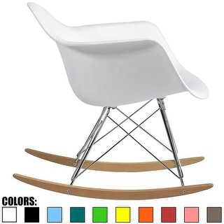2xhome - White Modern Plastic Rocker Rocking Chairs Lounge Chair Nursery with Arm Wood Wire Leg