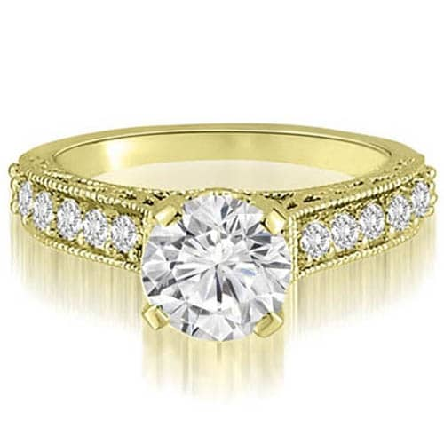 1.35 cttw. 14K Yellow Gold Antique Milgrain Round Cut Diamond Engagement Ring