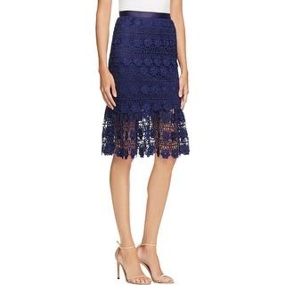 Aqua Womens Flounce Skirt Lace Below Knee