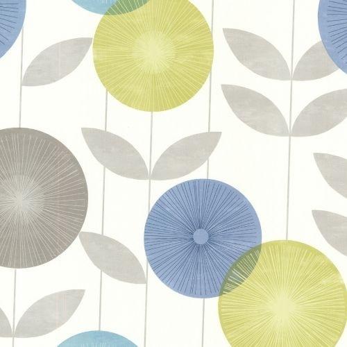 Brewster 2532-20412 Monroe Aquamarine Modern Floral Wallpaper