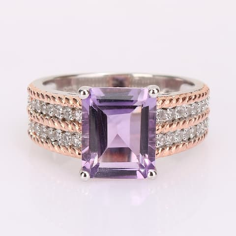 Miadora 2-Tone White & Rose Plated Sterling Silver Octagon Amethyst & White Topaz Cocktail Ring