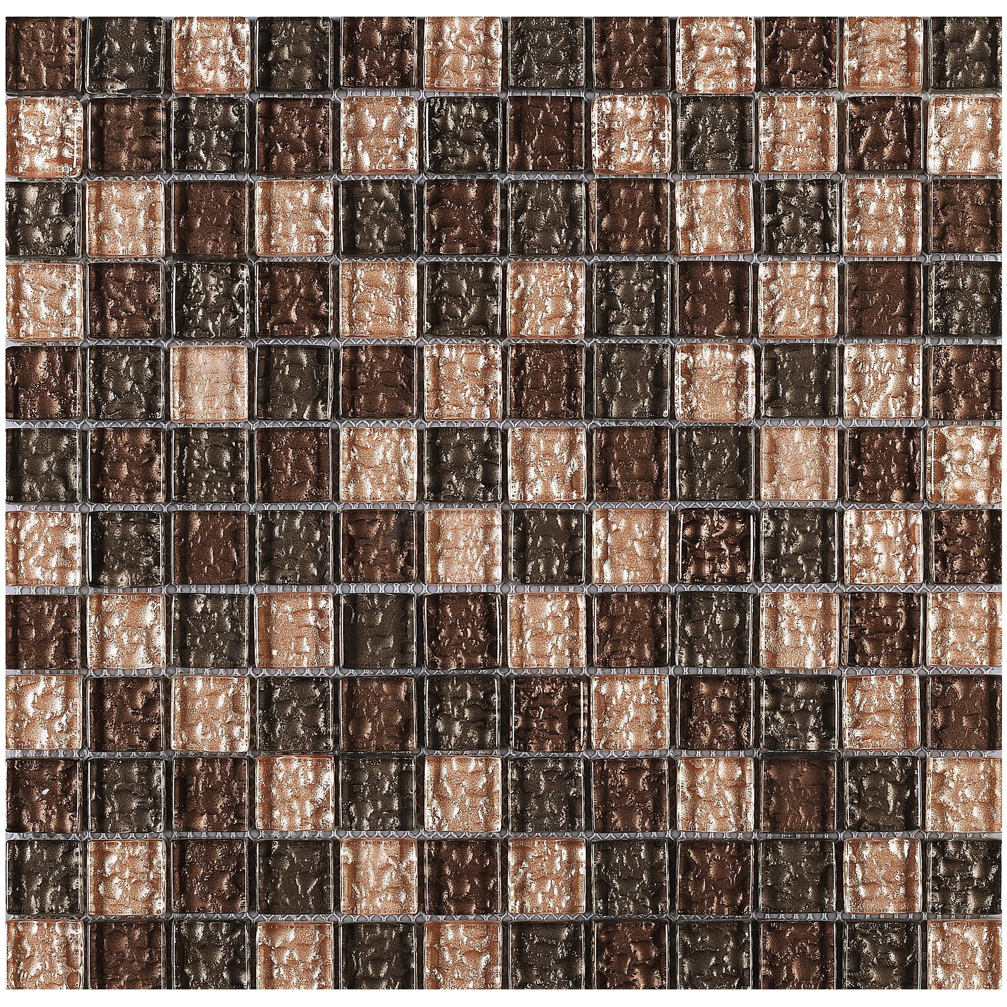 Tilegen Grid 1 X Gl Mosaic Tile In Beige Brown Wall 10 Sheets 9 6sqft