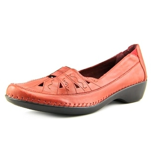 Easy Spirit Dixiee Women WW Round Toe Leather Red Loafer