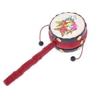 Baby Kids Multi Chinese Traditional Boys Patterns Hand Shake Rattle Drum Red