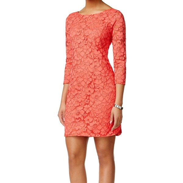 Vince Camuto NEW Orange Coral Floral Lace Women's Size 12 Sheath Dress