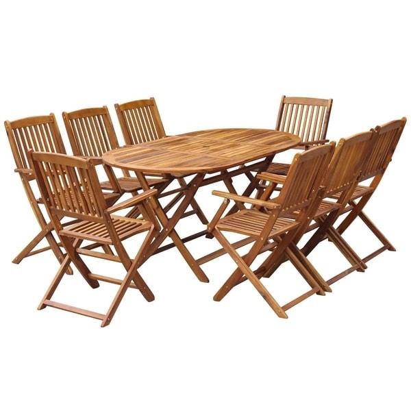 Shop vidaXL Outdoor Dining Set 9 Piece Solid Eucalyptus ...