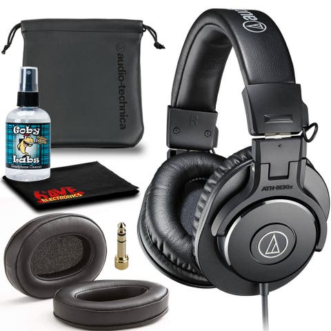 Audio-Technica ATH-M30x Headphones (Black) Include Leather Replacement