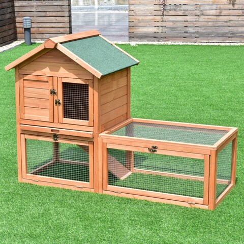 Gymax 56'' Pet Supplies Wooden House Rabbit Hutch Chicken Coops Cage w Tray Run Outdoor - natural color
