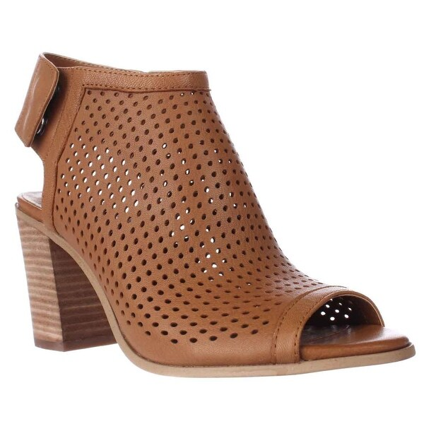 STEVEN by Steve Madden Suzy Perforated Open Toe Heel Ankle Booties, Tan