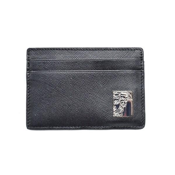 Versace Collection Black Saffiano Leather Medusa Money Card Holder