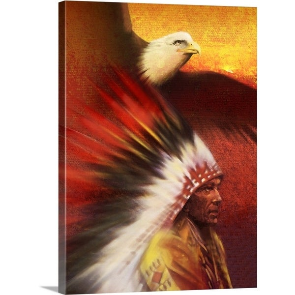 Premium Thick-Wrap Canvas entitled Native American man with Bald Eagle - Multi-color