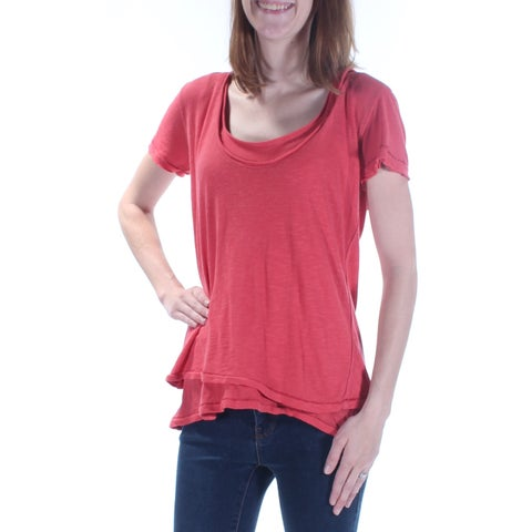 WE THE FREE Womens Red Short Sleeve Scoop Neck Tiered Top Size: XS