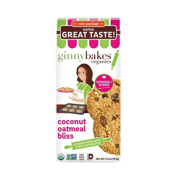 Ginny bakes Organics Oatmeal Cookie Bliss - Coconut - Case of 8 - 5.5 oz.