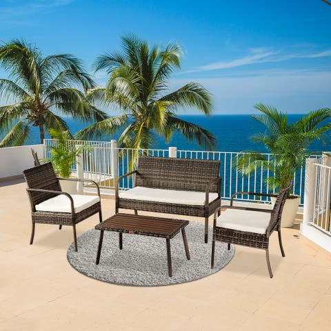 OSHION Outdoor Leisure Rattan Furniture Rattan Chair 4-piece Coffee Table Solid Wood Coffee Table