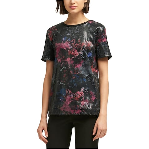 Dkny Womens Abstract Embellished T-Shirt