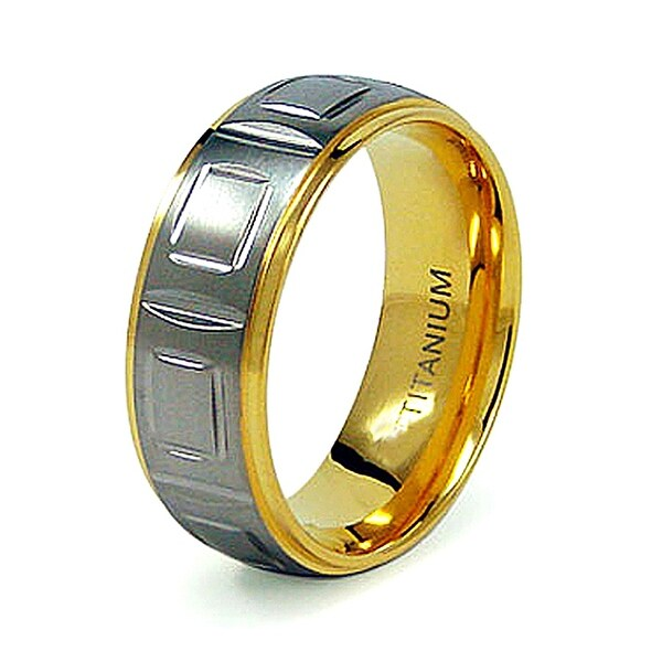8mm Titanium Ring with Gold Plating (Sizes 8-12)